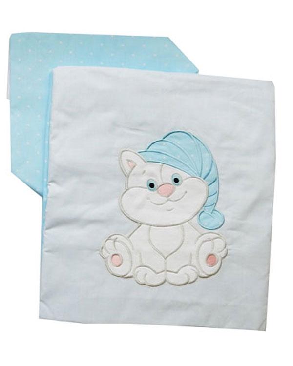 Комплект белья для новорожденных Комплект постельного белья детский с вышивкой Котик 6036-2, голубой