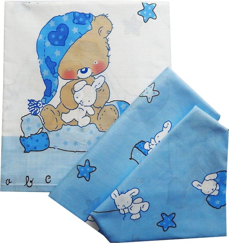 Комплект белья для новорожденных Комплект постельного белья детский 0004, голубой