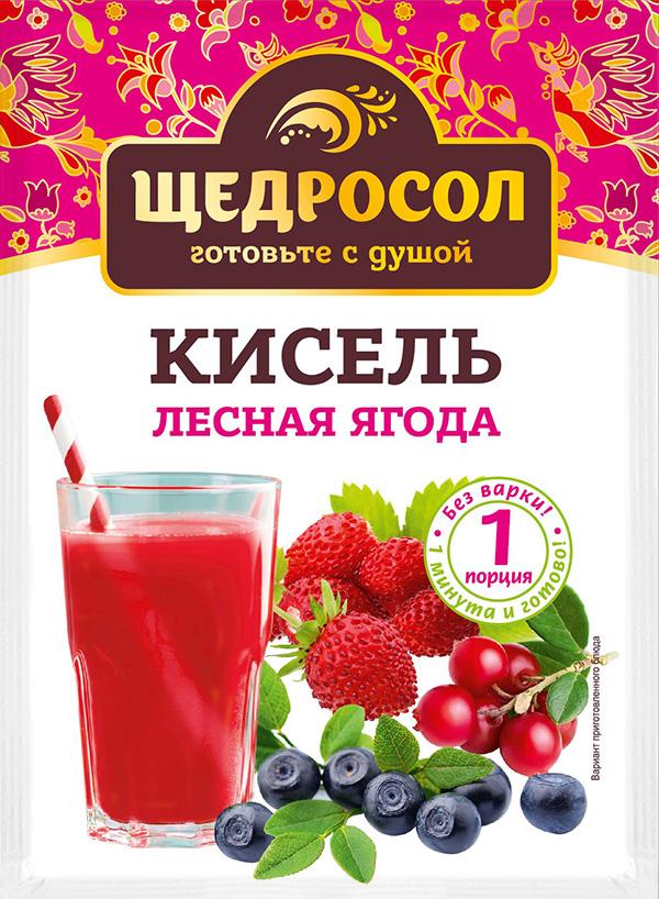 Кисель Щедросол быстрого приготовления Лесная ягода 30г*30, Лесные ягоды торт лесная ягода от палыча 1700г