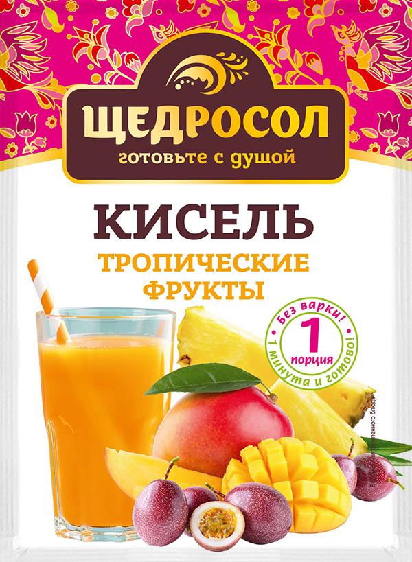 Кисель Щедросол быстрого приготовления Тропические фрукты 30г*30, Тропические фрукты еда быстрого приготовления