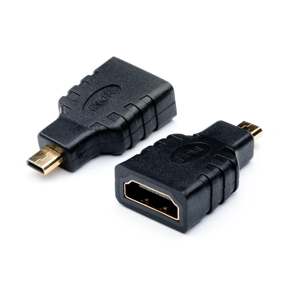 Адаптер-переходник ATcom micro HDMI (male) - HDMI (female), AT6090, черный hdmi extend adapter micro hdmi male to hdmi female 180 degree