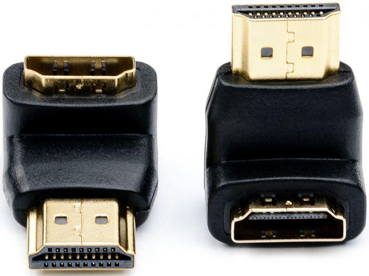 Адаптер-переходник ATcom HDMI (90°, угловой), HDMI (male) - HDMI (female), AT3804, черный адаптер переходник atcom mini displayport male hdmi female 0 1 m at1042