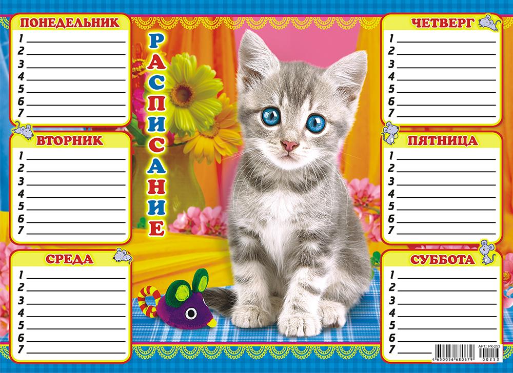 Расписание уроков ЛиС А4 (картон) Котёнок41769Расписание уроков будет помогать ученику грамотно распределить выполнение домашних заданий, и вовремя готовиться к урокам. Выполено из плотного картона 225 г/м, размер расписания 297х210 мм.