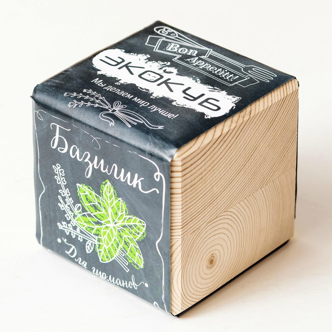 цена на Сувенирный набор ЭЙФОРД Набор для выращивания Экокуб Базилик, бежевый, черный, зеленый