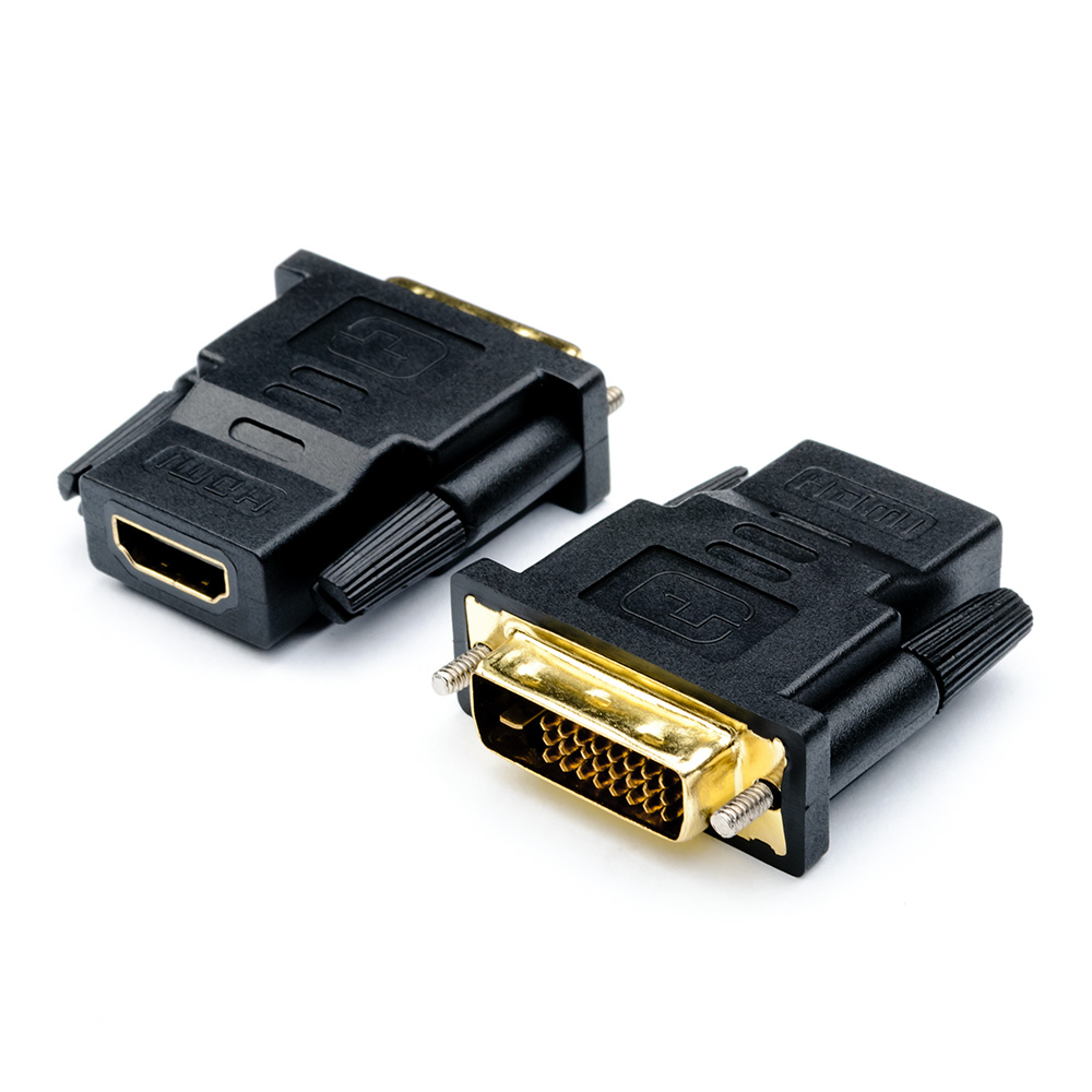 Адаптер-переходник ATcom DVI (male) - HDMI (female), 24 pin, AT1208, черный адаптер переходник atcom dvi d vga at9214 позолоченные контакты