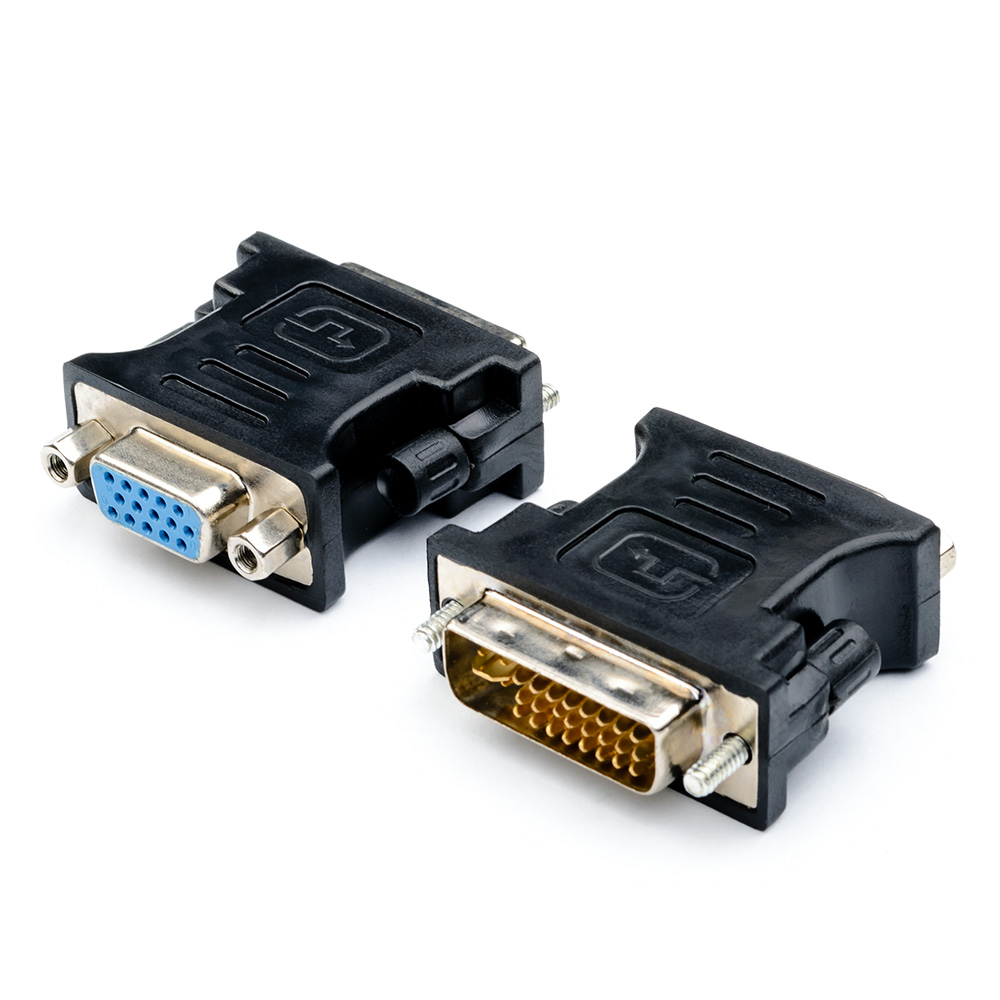Адаптер-переходник ATcom DVI - VGA, 24 pin, AT1209, черный адаптер переходник atcom dvi d vga at9214 позолоченные контакты