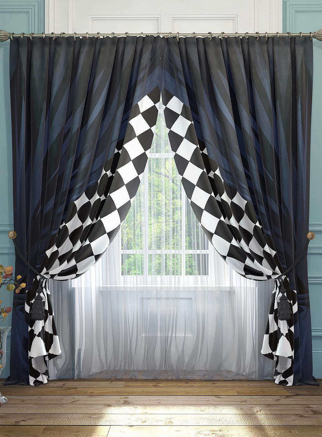 цены Комплект штор Томдом Танто, белый, черный, синий
