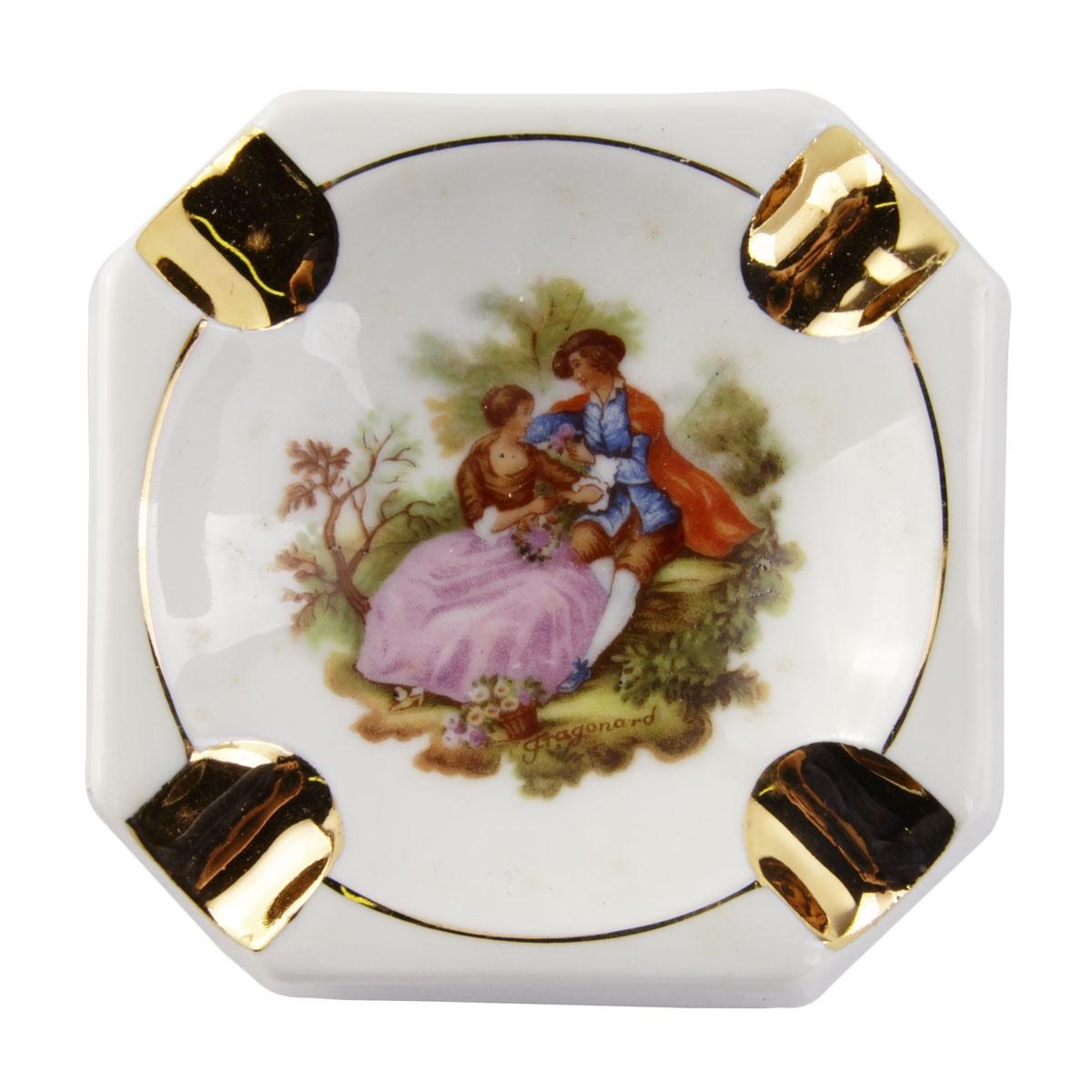 Пепельница Limoges Porcelain Рандеву, белый, розовый, коричнево-красный, красный декоративное блюдце танец в саду фарфор роспись деколь limoges франция вторая половина xx века