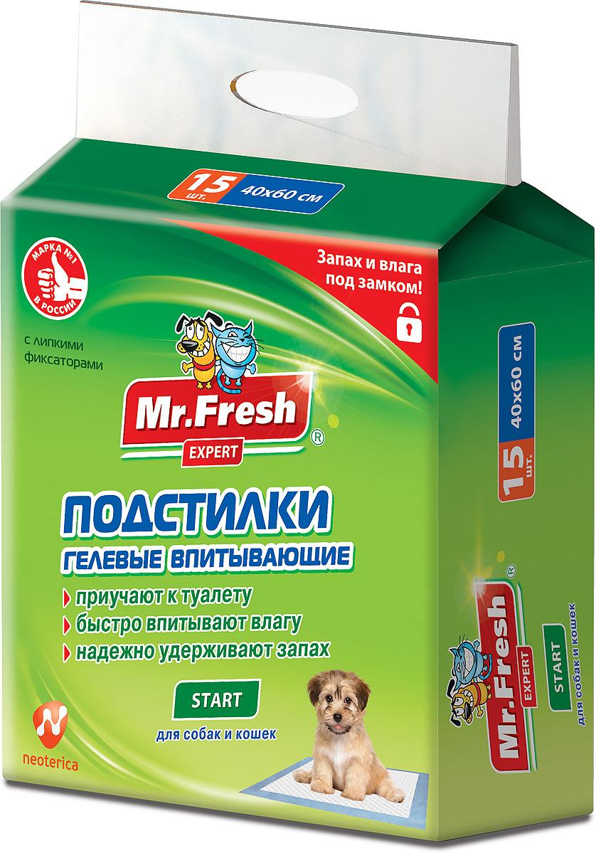 Пеленка-подстилка для животных Mr.Fresh Expert Start, впитывающая, гелевый наполнитель, 40 х 60 см, 15 шт