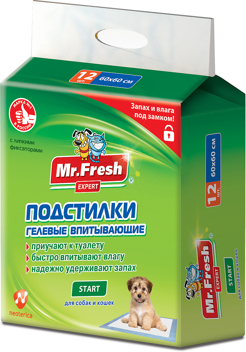 Пеленка-подстилка для животных Mr.Fresh Expert Start, впитывающая, гелевый наполнитель, 60 х 60 см, 12 шт