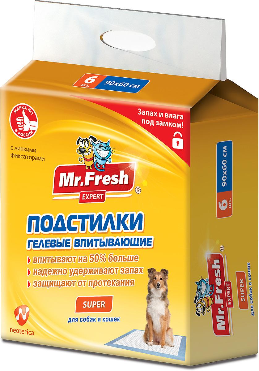 Пеленка-подстилка для животных Mr.Fresh Expert Regular, впитывающая, гелевый наполнитель, 90 х 60 см, 6 шт