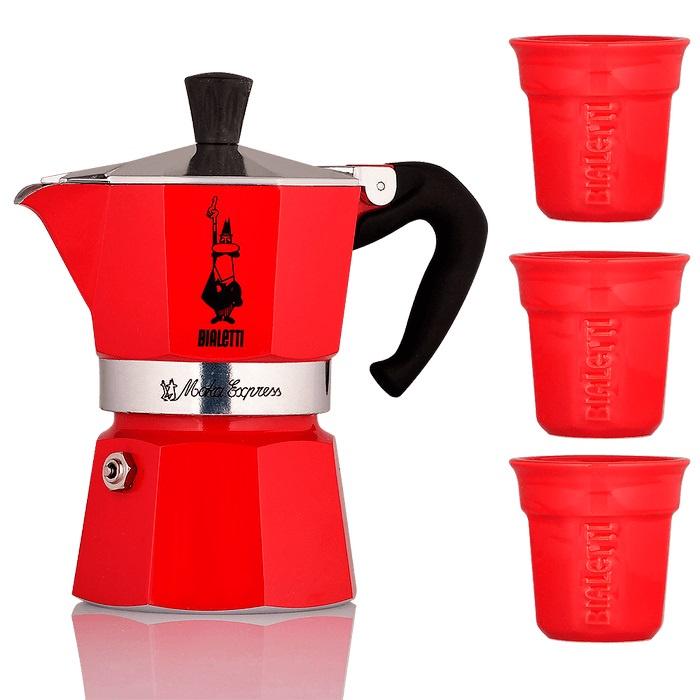 Гейзерная кофеварка Bialetti MOKA, красный кофеварка гейзерная bialetti moka induzione 3 порции сталь 4922