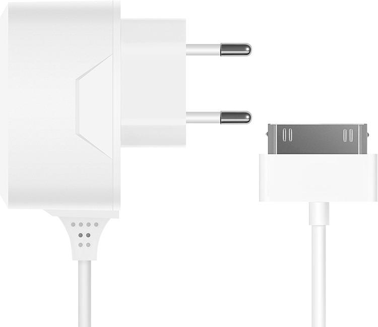 Сетевое зарядное устройство Prime Line 2300 + кабель Apple 30-pin, 1A, белый сетевое зарядное устройство prime line 2310 usb 2 1a черный