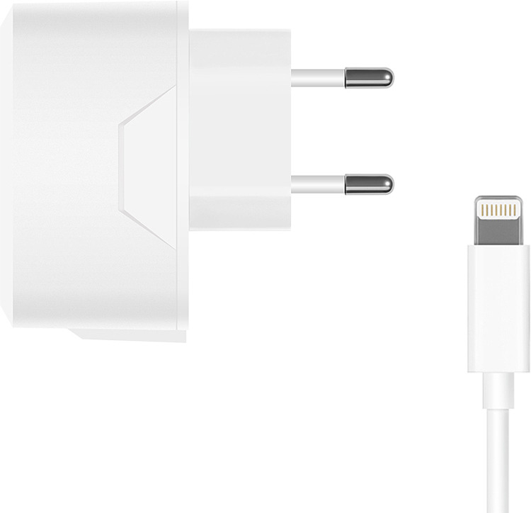 Сетевое зарядное устройство Prime Line2316+ кабель Lightning,2.1A, белый цена и фото
