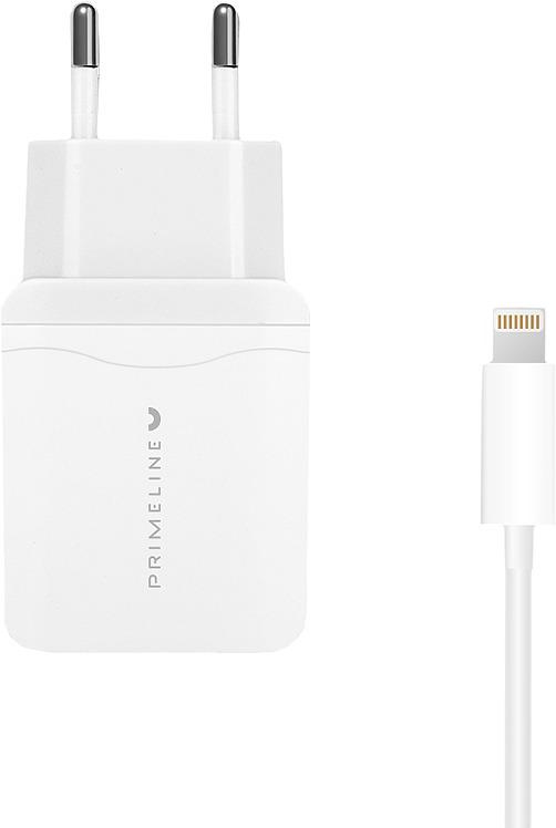 Сетевое зарядное устройство Prime Line 2323 + кабель Lightning, 1A, белый цена и фото