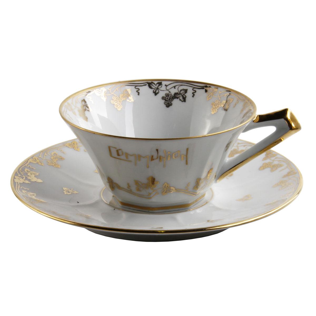 Чайная пара Limoges Porcelain Чайная пара в классическом стиле Лимож, белый, золотой чайная пара фрукты les fruites фарфор деколь германия weimar porzellan 1990 гг