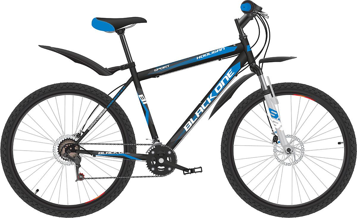 Велосипед горный (MTB) Black One Hooligan D, черный, синий, белый, диаметр колес 26, размер рамы 18