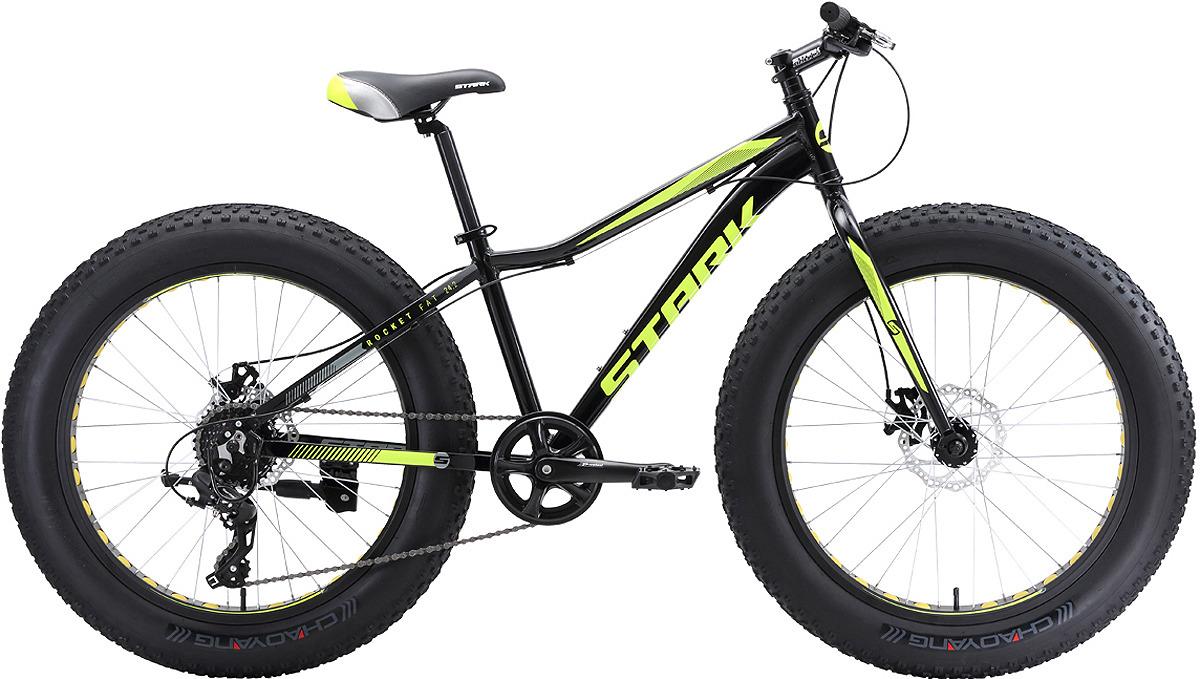Велосипед кросс-кантри Stark'18 Rocket Fat D, черный, зеленый, диаметр колес 24, размер рамы 14