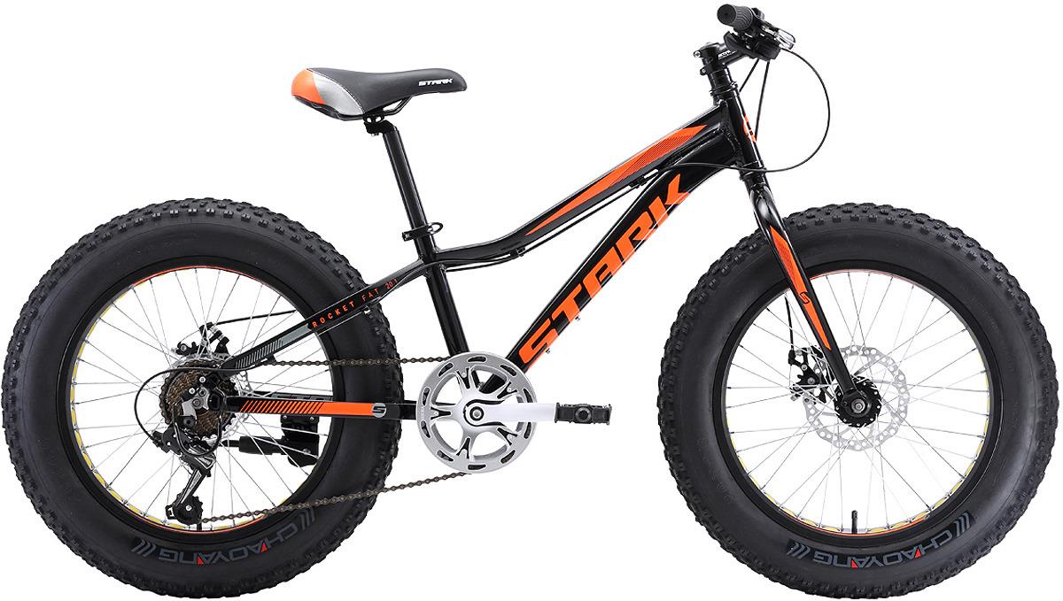 Велосипед кросс-кантри Stark'18 Rocket Fat D, черный, оранжевый, диаметр колес 20