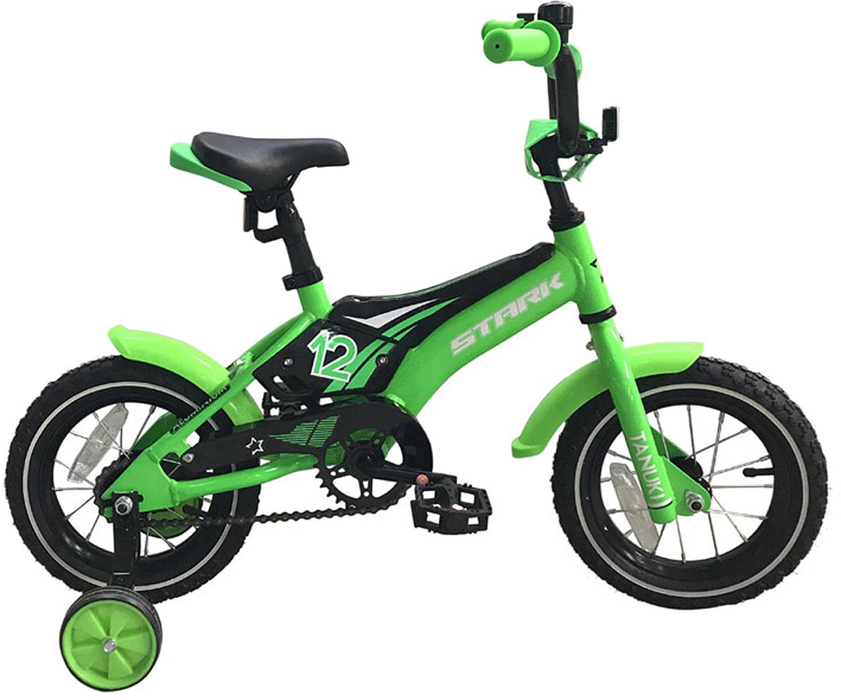 цена на Велосипед детский Stark'18 Tanuki Boy, зеленый, черный, белый, диаметр колес 12, размер рамы