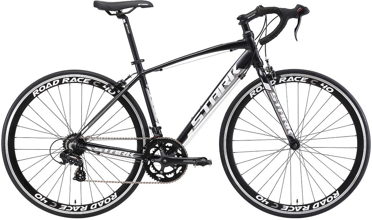 Велосипед шоссейный Stark'18 Peloton 700.1, черный, темно-серый, белый, диаметр колес 28'', размер рамы 22