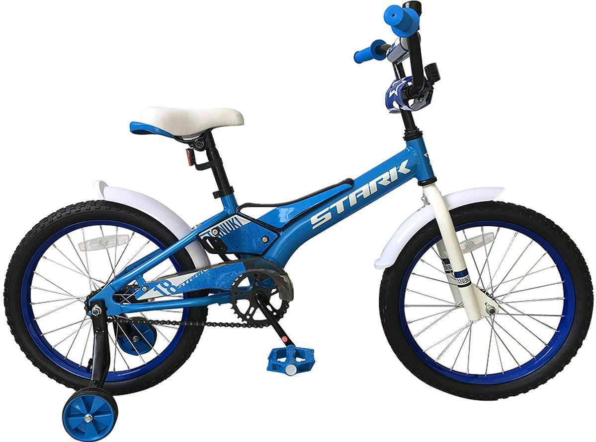 Велосипед детский Stark'19 Tanuki Boy, голубой, белый, диаметр колес 18