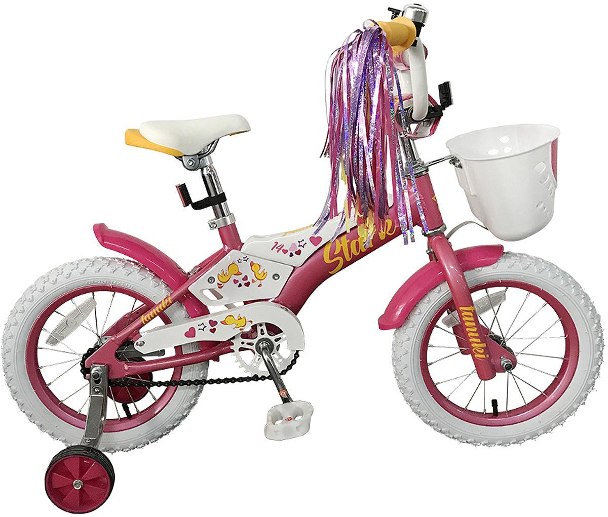 Велосипед детский Stark'19 Tanuki Girl, розовый, белый, желтый, диаметр колес 14