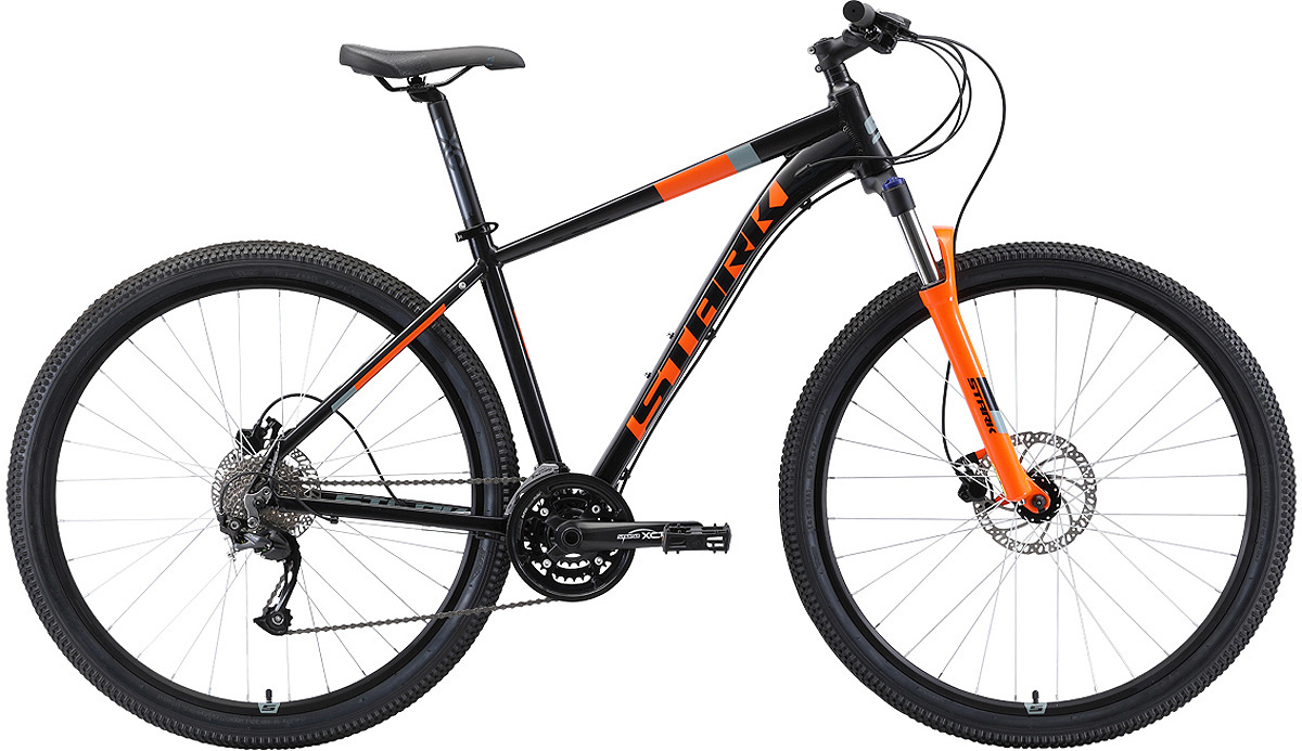 Велосипед кросс-кантри Stark'19 Router HD, черный, оранжевый, серый, диаметр колес 29, размер рамы 20 велосипед stark router 27 3 d 2019