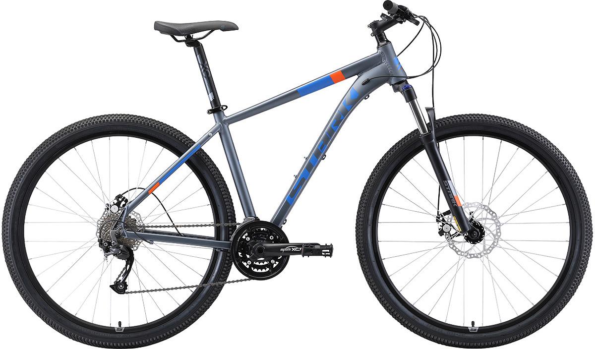 Велосипед кросс-кантри Stark'19 Router D, серый, голубой, оранжевый, диаметр колес 29, размер рамы 20 велосипед stark router 27 3 d 2019