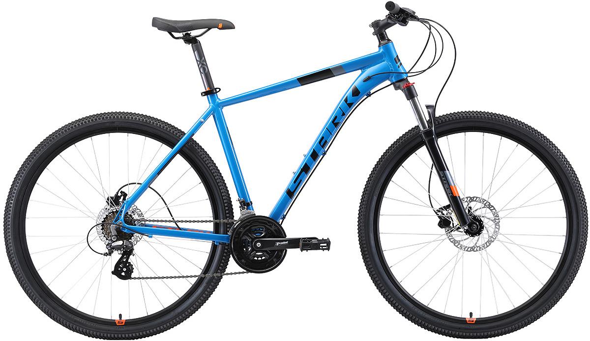 Велосипед кросс-кантри Stark'19 Router HD, голубой, черный, оранжевый, диаметр колес 29, размер рамы 18 велосипед stark router 27 3 d 2019