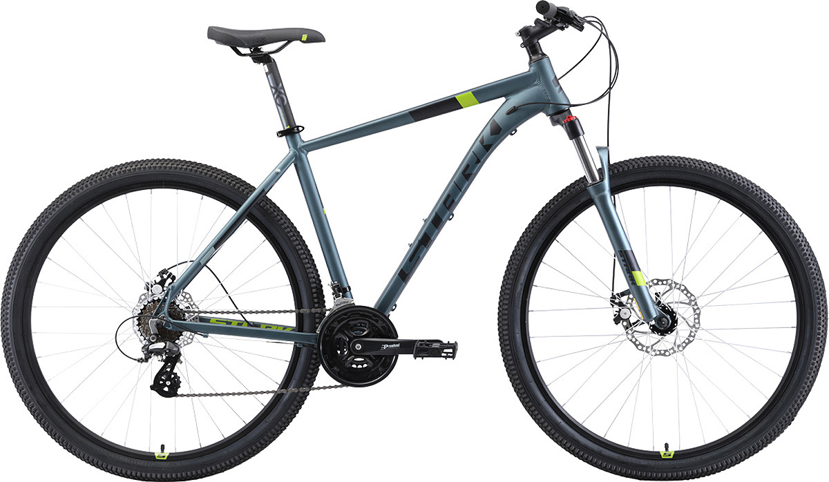 Велосипед кросс-кантри Stark'19 Router D, серый, черный, зеленый, диаметр колес 29, размер рамы 22 велосипед stark router 27 3 d 2019