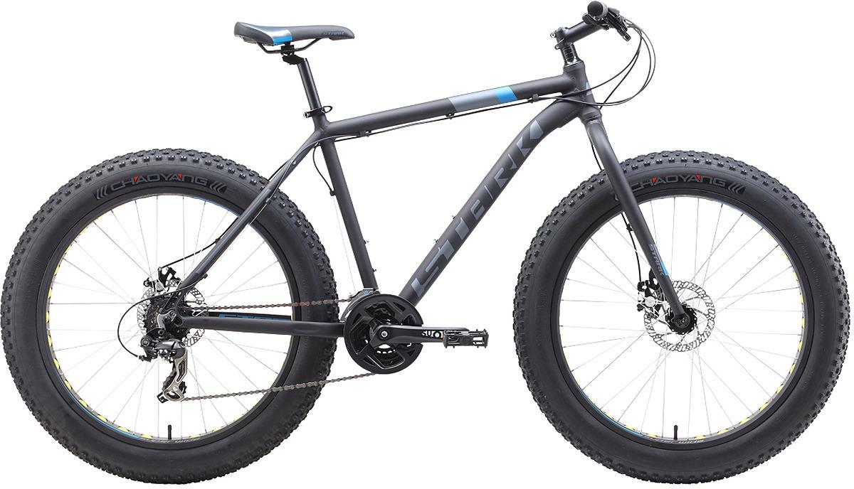 Велосипед кросс-кантри Stark'19 Fat D, черный, голубой, серый, диаметр колес 26, размер рамы 18