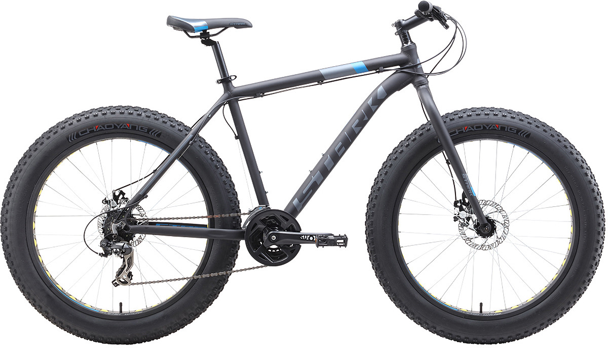 Велосипед кросс-кантри Stark'19 Fat D, черный, голубой, серый, диаметр колес 26, размер рамы 20