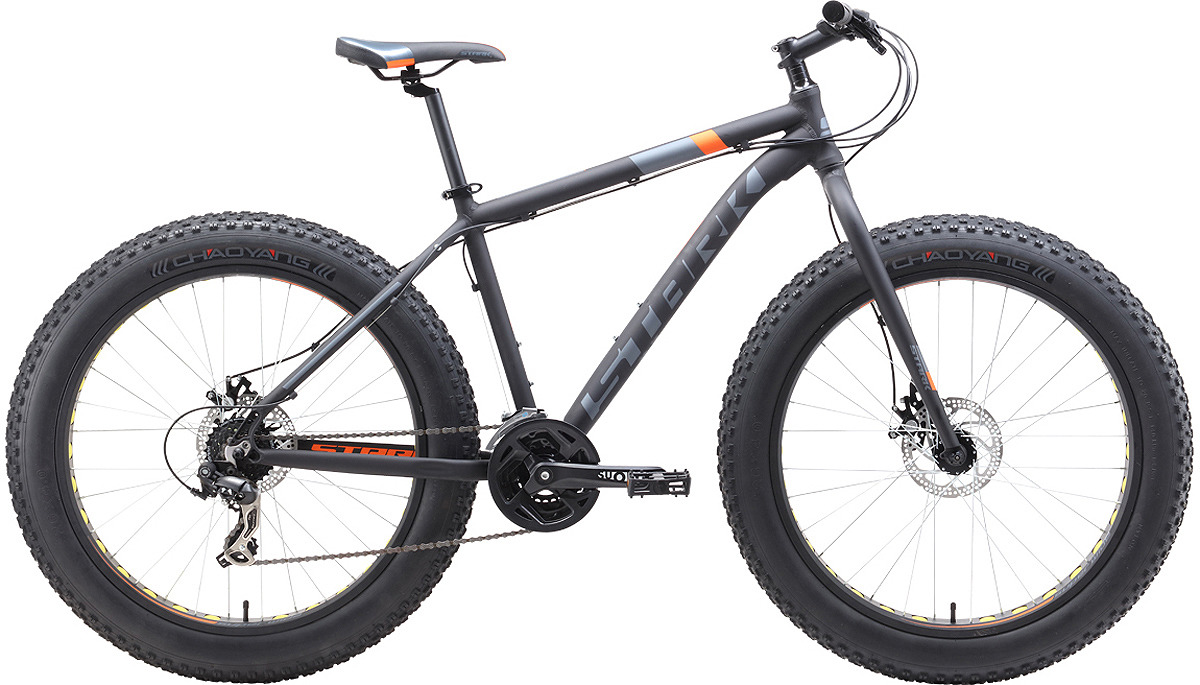 Велосипед кросс-кантри Stark'19 Fat D, черный, оранжевый, серый, диаметр колес 26, размер рамы 20