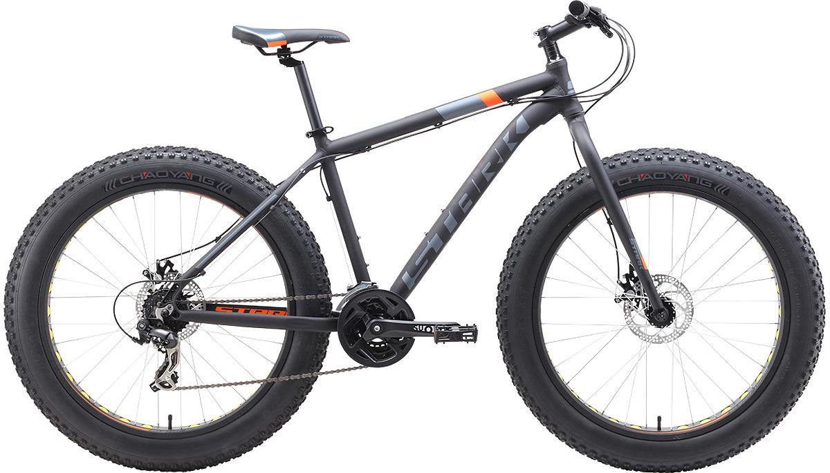 Велосипед кросс-кантри Stark'19 Fat D, черный, оранжевый, серый, диаметр колес 26, размер рамы 18