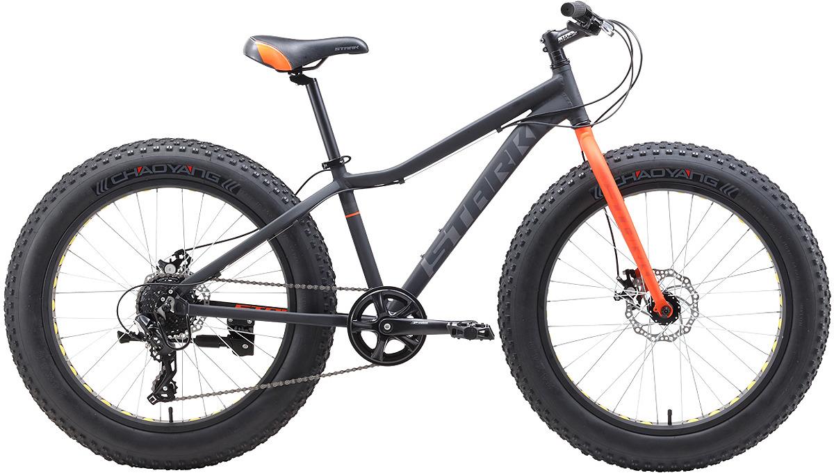 Велосипед кросс-кантри Stark'19 Rocket Fat D, серый, оранжевый, диаметр колес 24, размер рамы 14