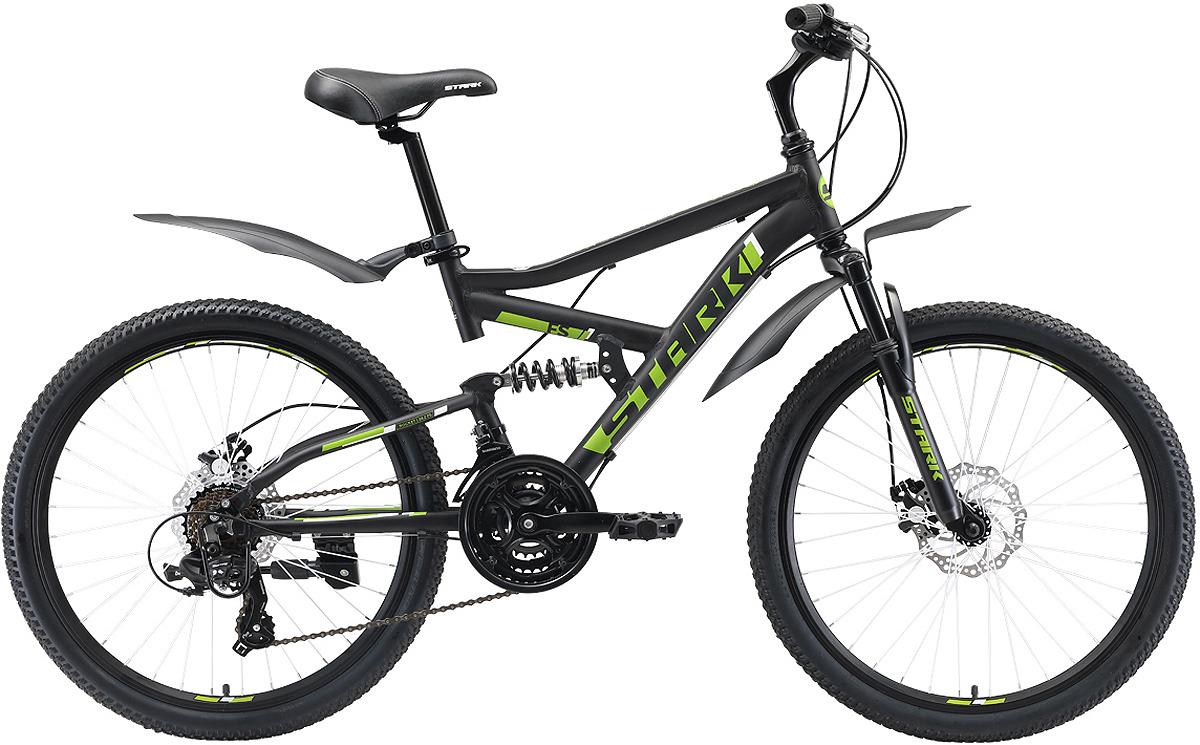 цена на Велосипед кросс-кантри Stark'19 Rocket FS D, черный, зеленый, диаметр колес 24