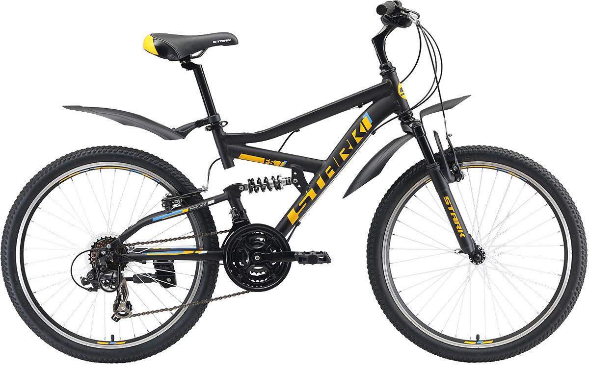 Велосипед кросс-кантри Stark'19 Rocket FS V, черный, оранжевый, голубой, диаметр колес 24