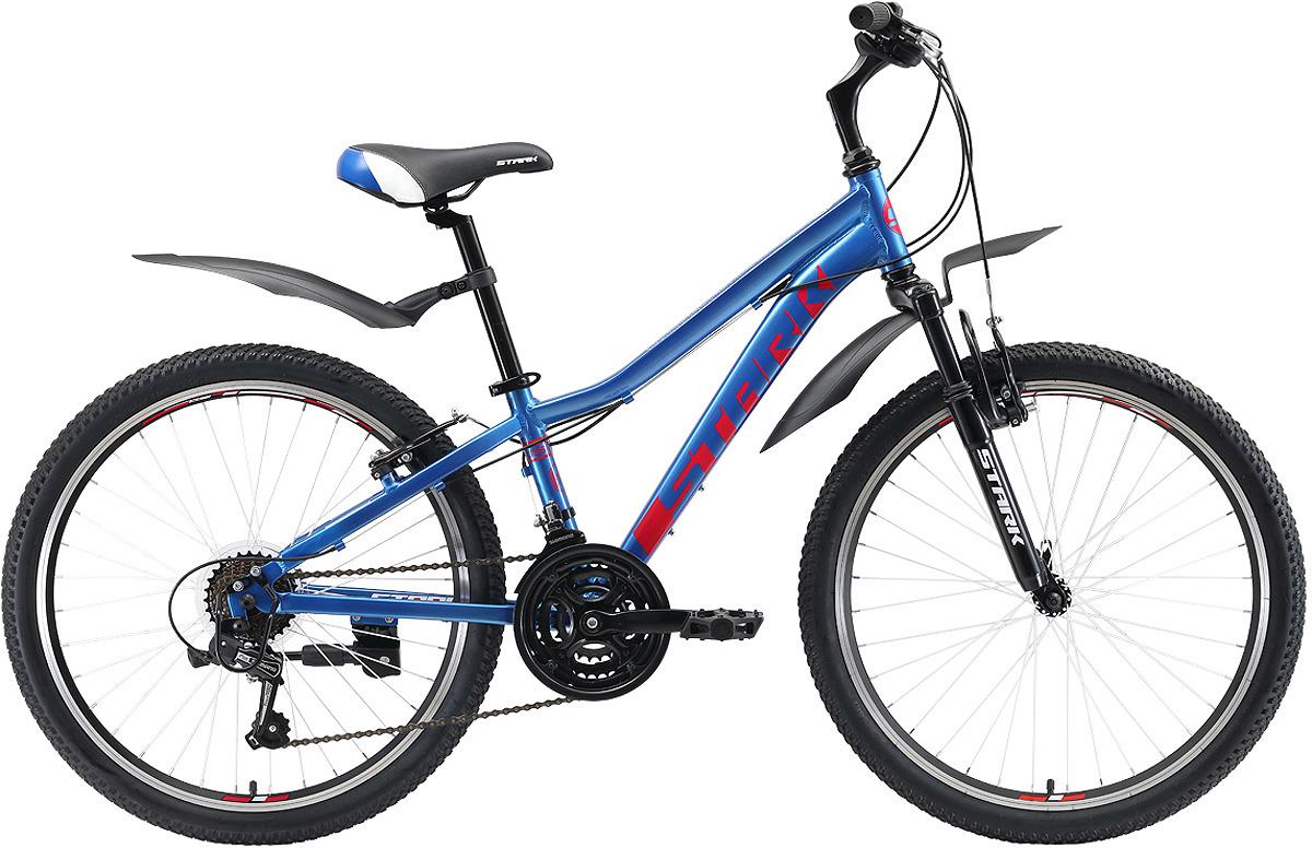 Велосипед кросс-кантри Stark'19 Bliss V, синий, красный, белый, диаметр колес 24, размер рамы 14 велосипед stark shooter 2 2018