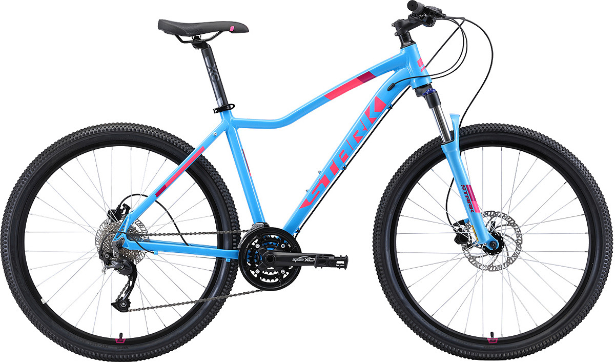 Велосипед женский Stark'19 Viva HD, голубой, розовый, белый, диаметр колес 27.5, размер рамы 18