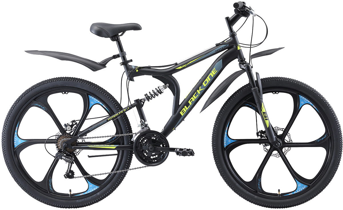 Велосипед горный (MTB) Black One Totem FS, D FW, черный, зеленый, серый, диаметр колес 26, размер рамы 16