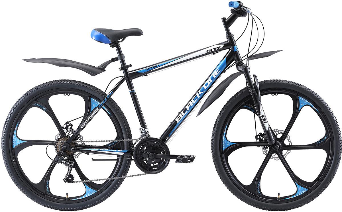 Велосипед горный (MTB) Black One Onix Active D FW, черный, голубой, серебристый, диаметр колес 26