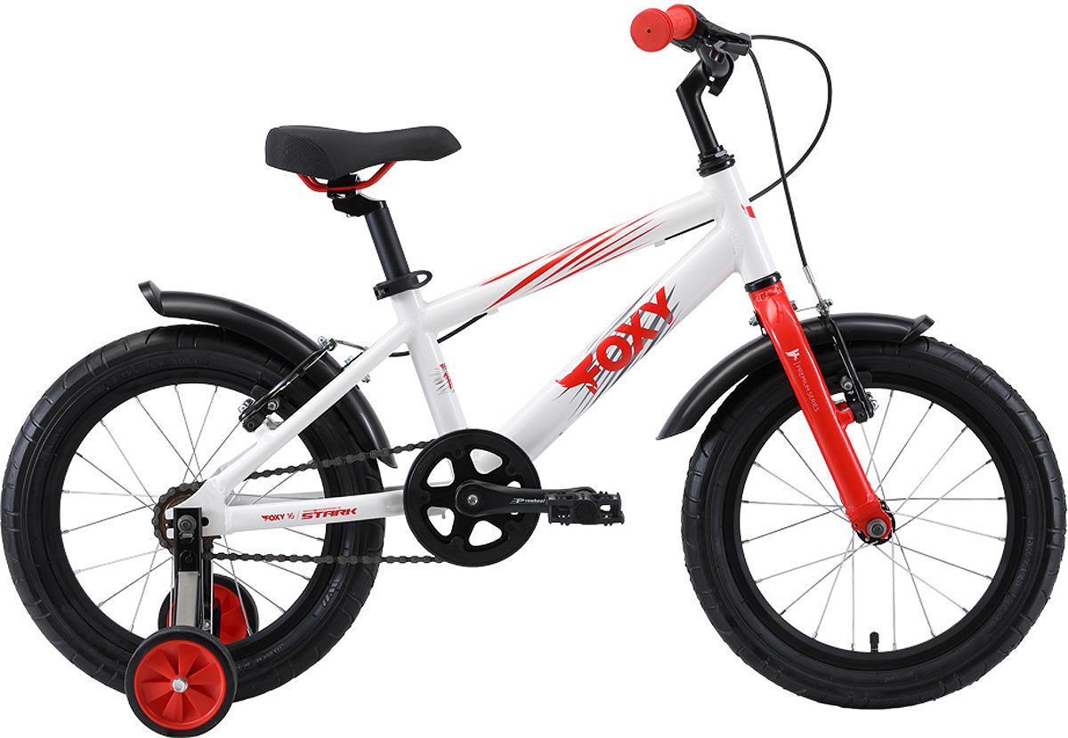 Велосипед детский Stark'19 Foxy, белый, красный, серый, диаметр колес 16, размер рамы onro велосипед детский onro by runbike диаметр колес 16
