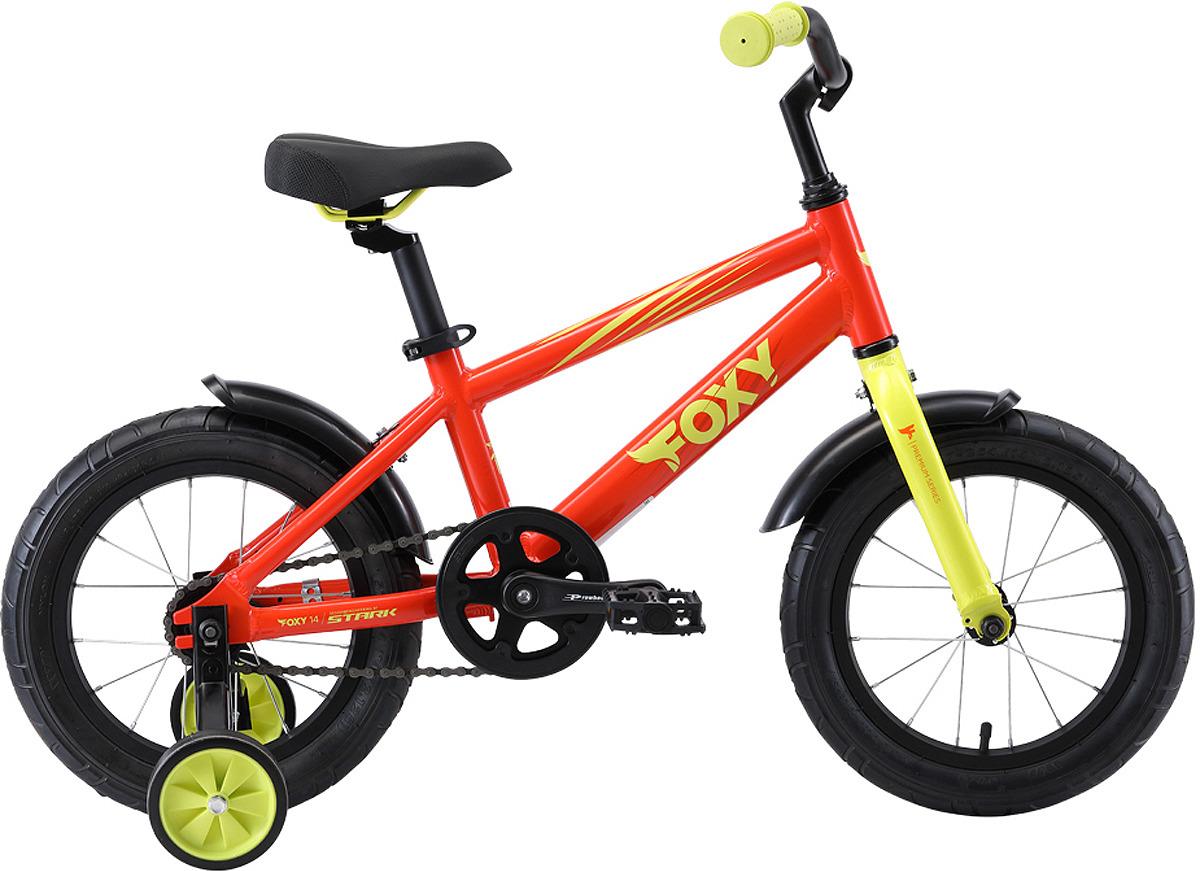 Велосипед детский Stark'19 Foxy, оранжевый, зеленый, диаметр колес 14