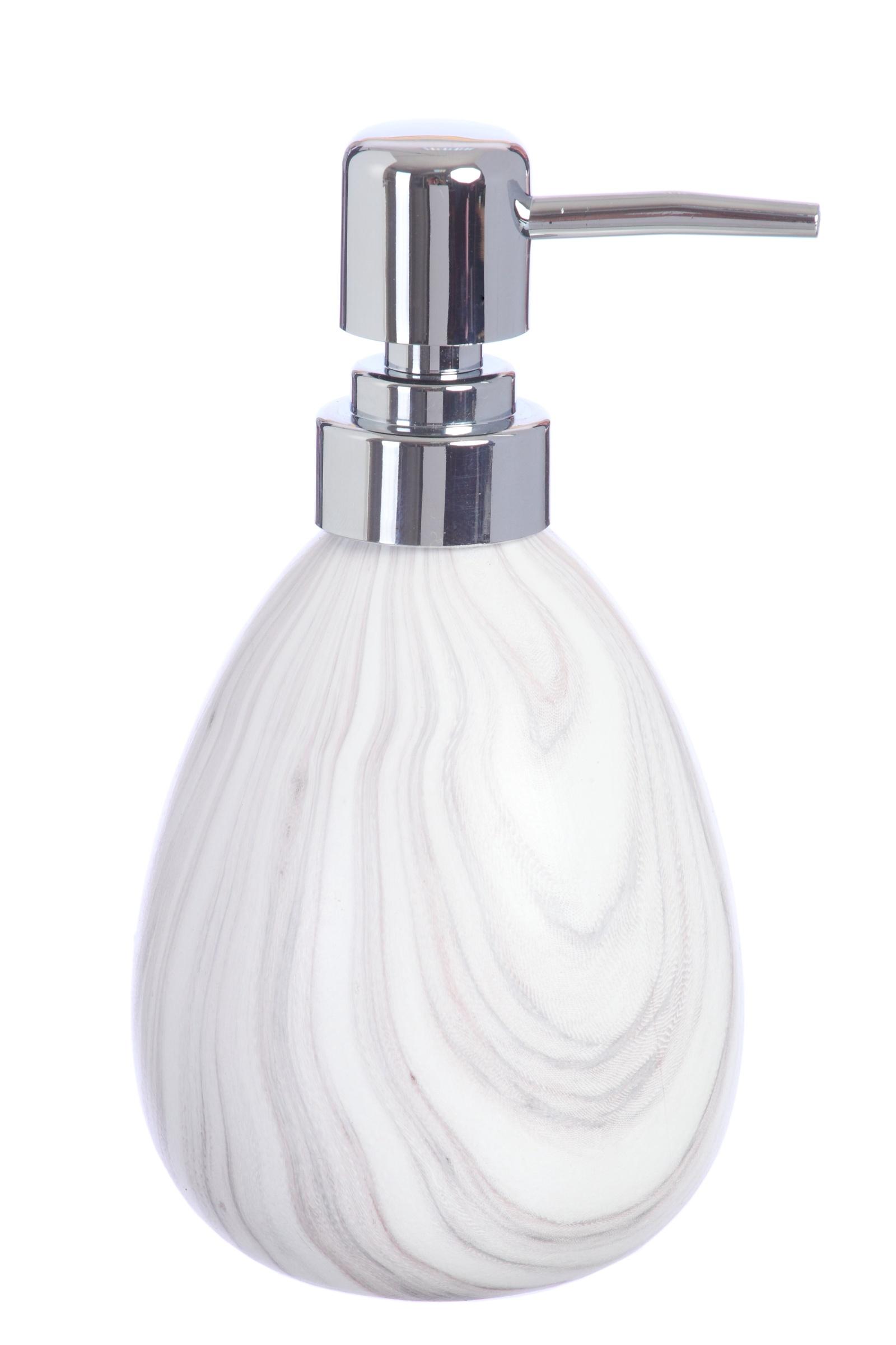 """Дозатор для мыла Vanstore Мрамор, бежевый400-03Дозатор """"Мрамор белый"""" выполнен из керамики с матовым покрытием. Утонченная форма предмета, благородный и гармоничный оттенок, в котором представлена коллекция, украсит Вашу ванную комнату. Объем дозатора: 400 мл."""