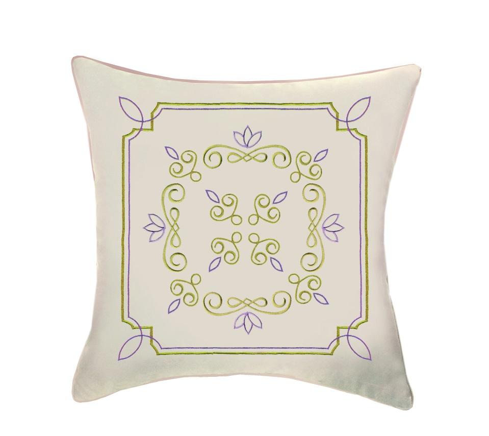 цена Подушка декоративная Primavelle 45х45 с вышивкой Классика олива онлайн в 2017 году
