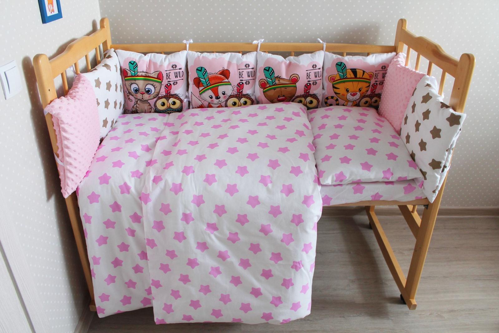 Фото - Бортики и постельный комплект в кроватку Valena Индейцы розовые бортики в кроватку лапуляндия бортики домики для мальчика 120х60