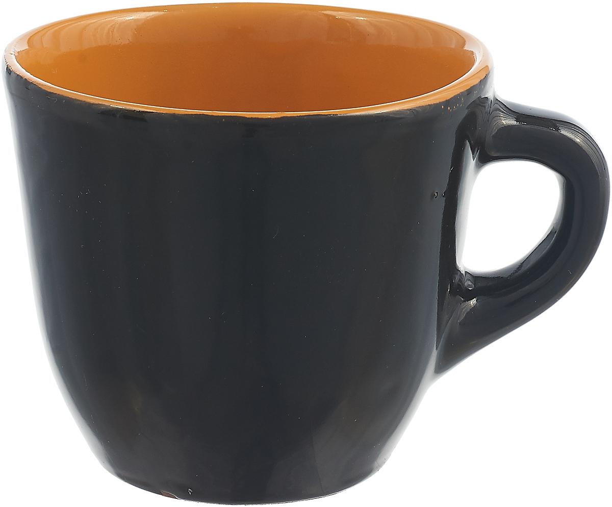 Чашка чайная Борисовская керамика Радуга, черный, светло-оранжевый, 300 мл чашка чайная борисовская керамика пион цвет оранжевый 300 мл
