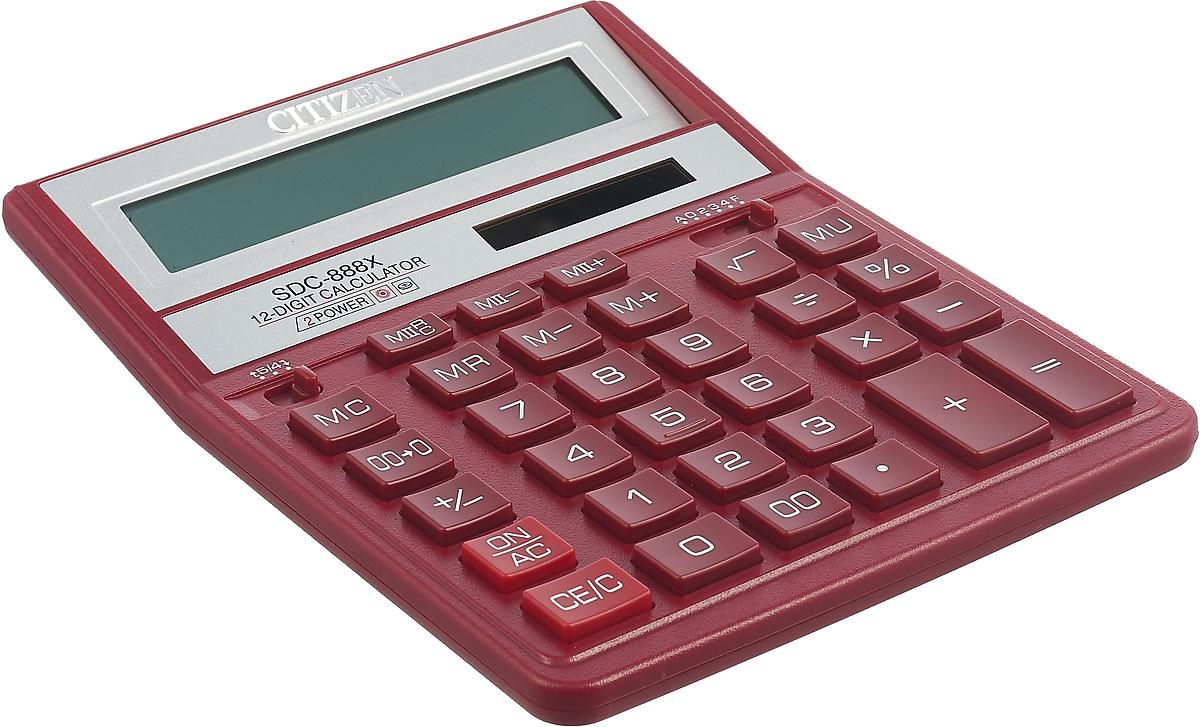 цена на Настольный калькулятор Citizen SDC-888XRD, бордовый