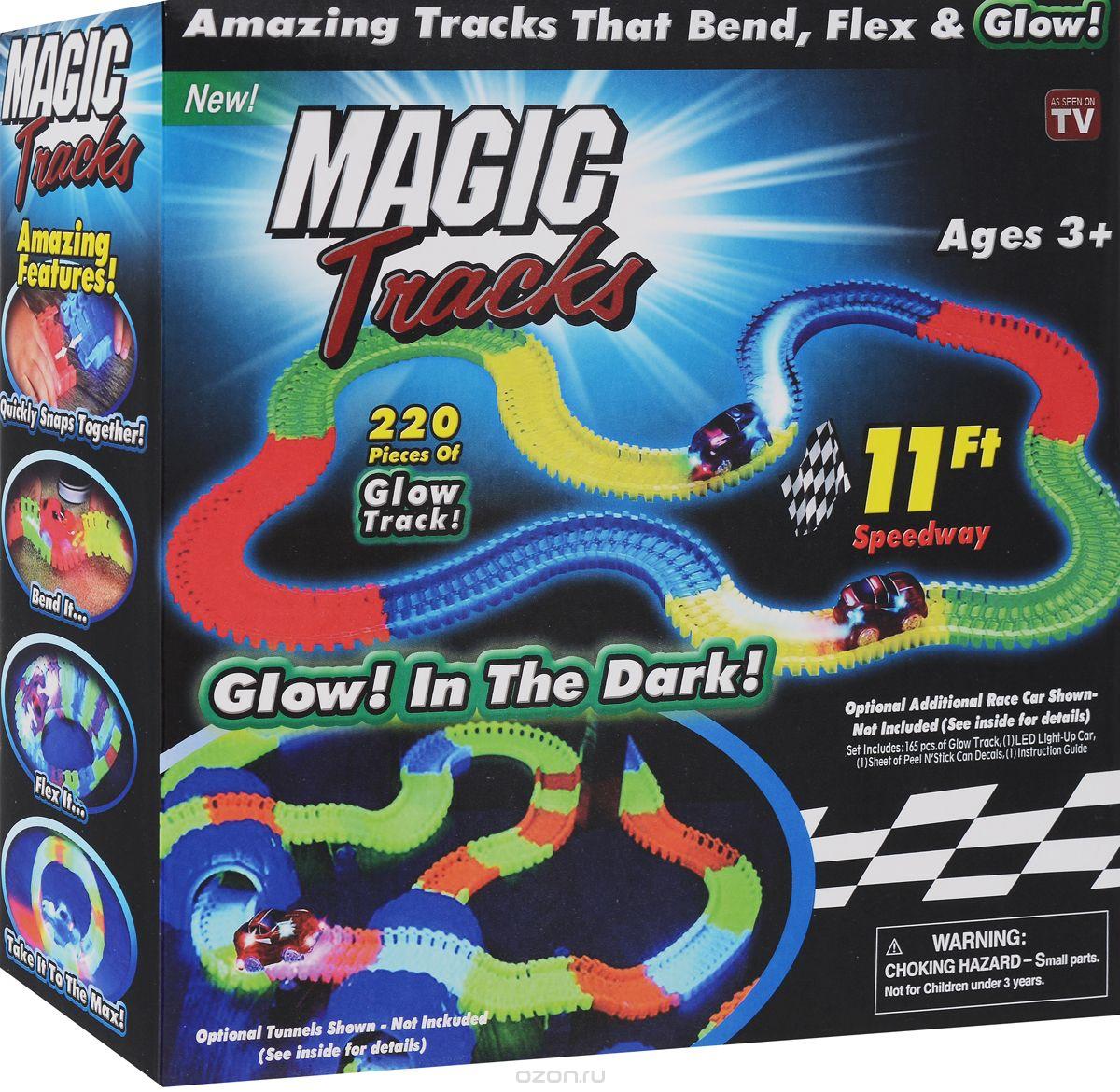 Светящийся гибкий трек MAGIC TRACKS 220 деталей10Magic Tracks— это большая круговая трасса, по которой ездят маленькие машинки со светящимися фарами. Машинки стремительно мчатся вперед, огибая множество различных преград и резких поворотов.Ваш малыш сможет самостоятельно собирать треки, по которым будут ездить машинки, а все детали из набора состыкуются с другими треками серии Magic Tracks.- Трасса искривляется в любом направлении- Соберите свою собственную трассу за считанные секунды- Детали светятся в темноте- Гоночные машинки оснащены яркими светодиодами- В комплекте 1 машинка- Легко сворачивается для храненияНабор Magic Tracks сделан из полностью безопасных материалов. Набор рассчитан на детей от 3-х лет и старше. Все детали набора сделаны из высококлассного прочного пластика, который увеличивает их срок службы.